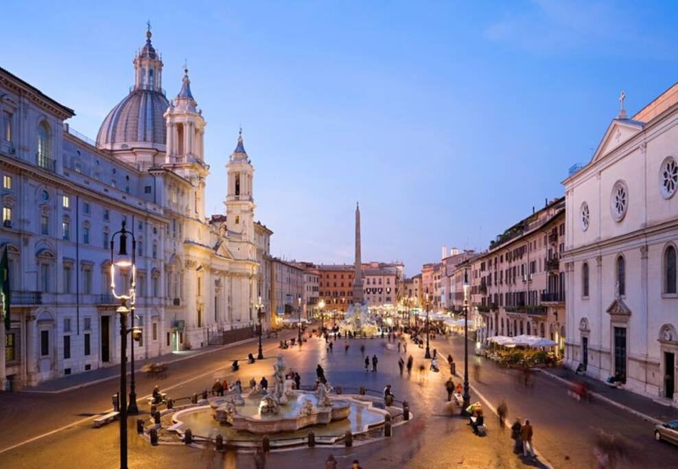 Piazza navona is around the corner
