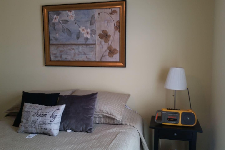 Habitacion con cama matrimonial para dos personas. Aire acondicionado central, lampara, radio, TV, closet, abanico