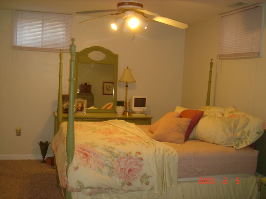 View of Brightly Lit Bedroom-Spacious Enough for a Queen Size Bed, Dresser, Nightstand and Chest of Drawers