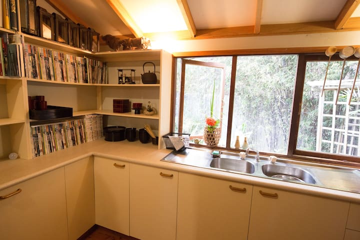 Kitchenette for tea and coffee making and simple meals prep.