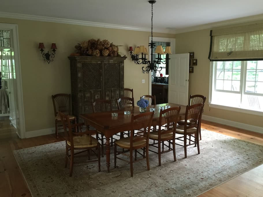 Dining room table, pulls out to accommodate 17 people