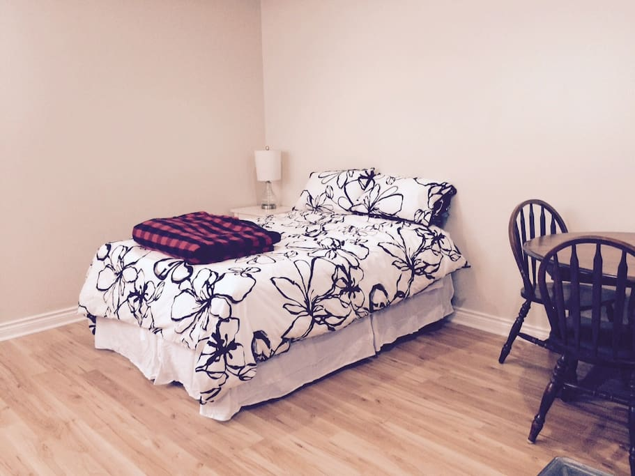 Comfortable new double bed and also large couch for sleeping