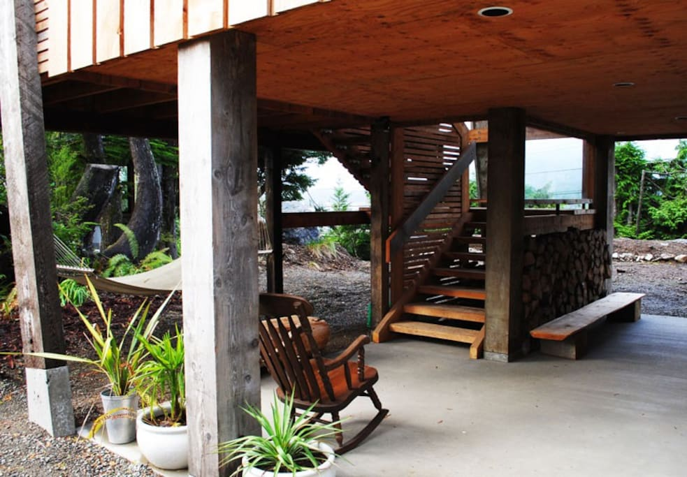 Covered outdoor living area.