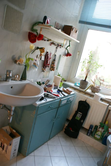 The bathroom with a big window and you can have a bath!
