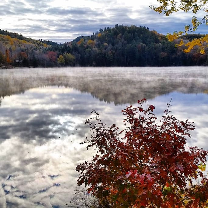 Lake house view during Fall