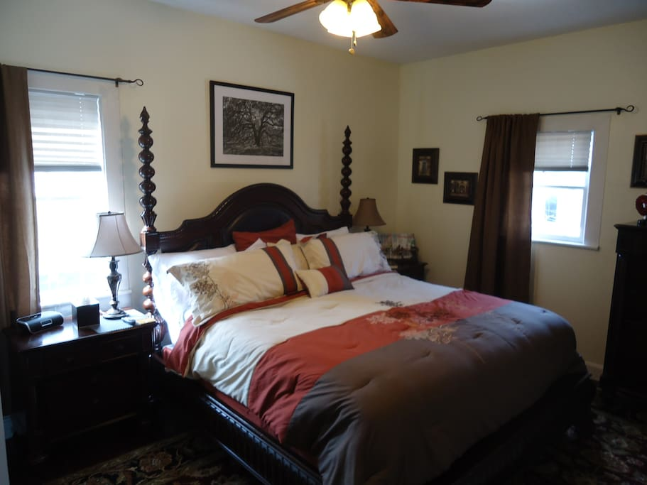 Large bedroom with comfy king bed and TV/DVD combo