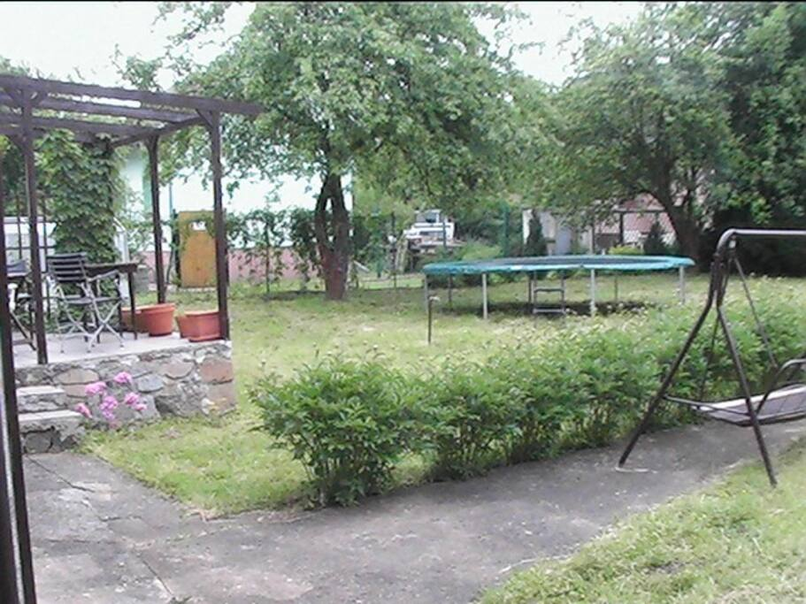 The cottage garden with a great trampoline