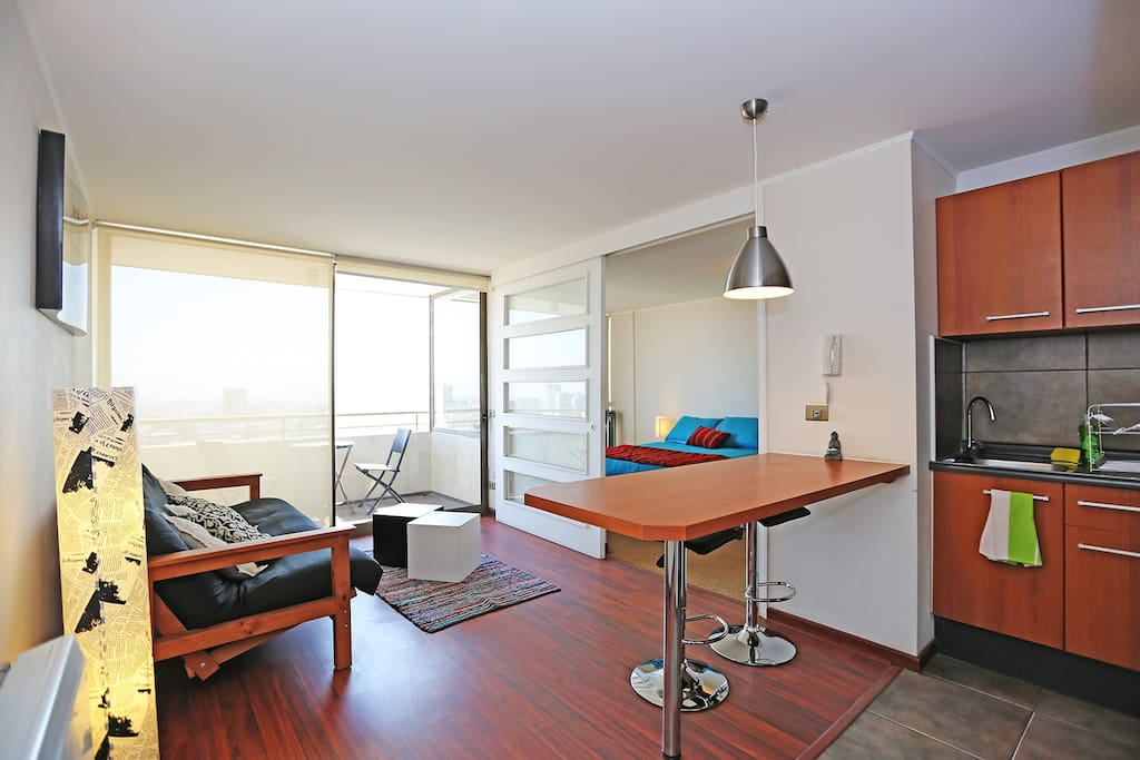Fully equipped kitchen, living room and  balcony (21st floor)