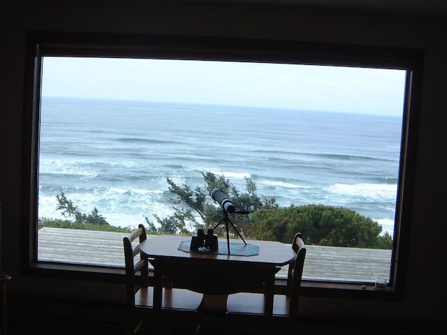 Central Oregon Coast Bluff VIEW cottage - Newport - Cabane