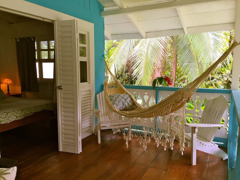 Hammock outside main bedroom.