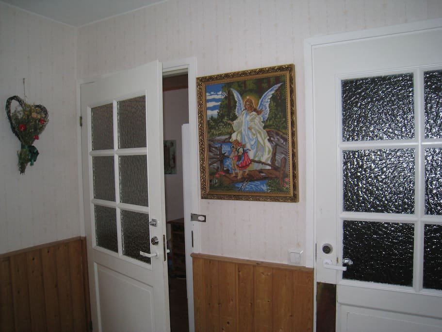 Entrance through this shared entrance hall. En-suite bedroom is on the left side door.
