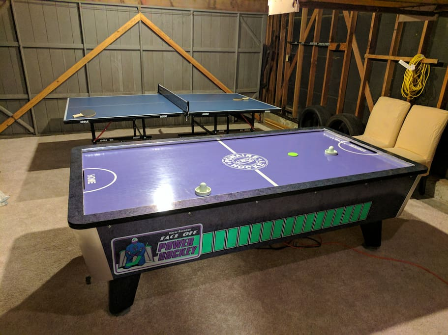 Air hockey table and ping pong table! (both full size)