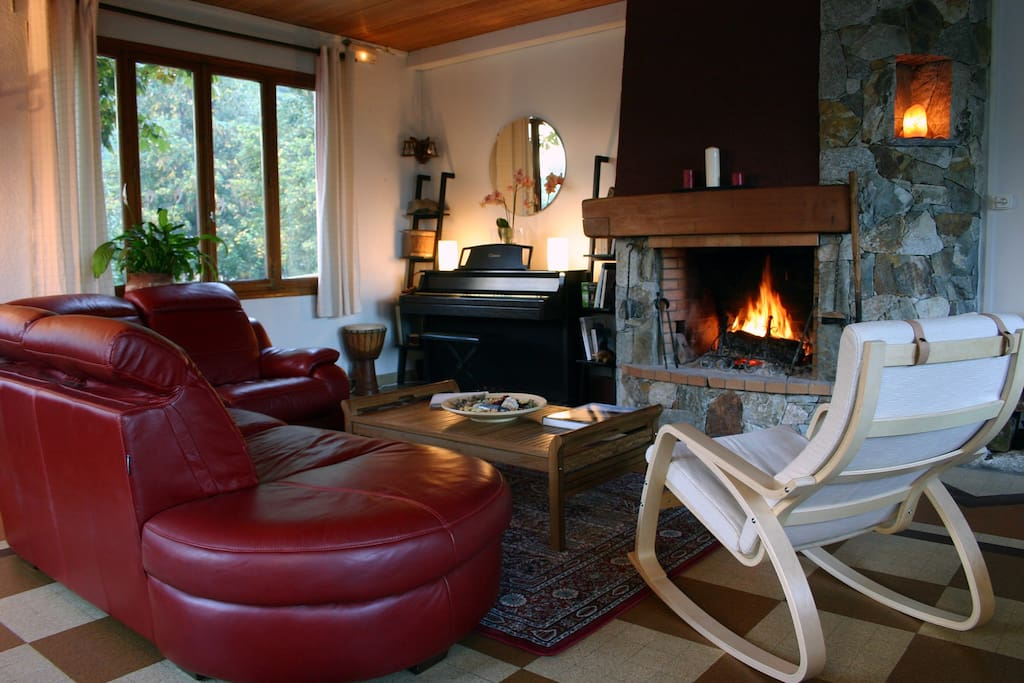 Lauvitel Lodge sitting room with our cozy fireplace