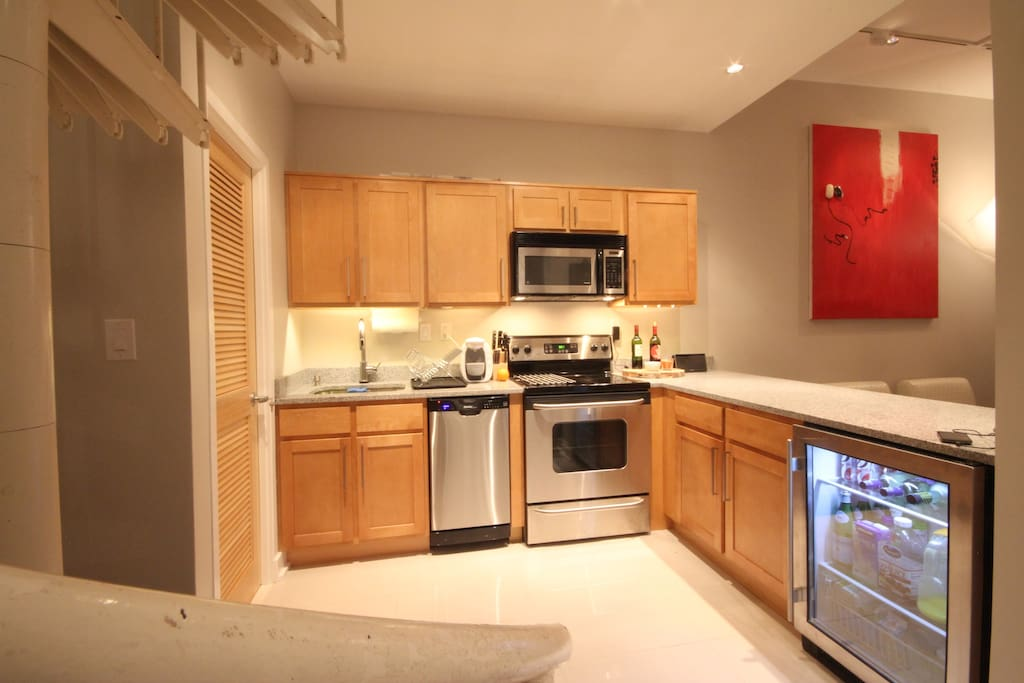 Kitchen is kept clean and can be used to warm things up.