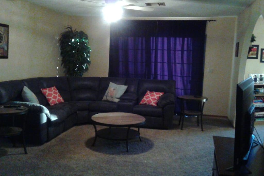 family room, sectional with 2 recliners