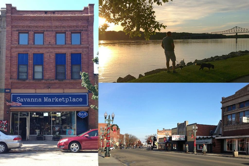 The Blue Bedroom Inn is right in the heart of historic downtown Savanna, IL. A friendly and charming, quiet river town built on the bluffs along the Mighty Mississippi River. Shop, dine, explore nature and relax with 2 decks overlooking the River.