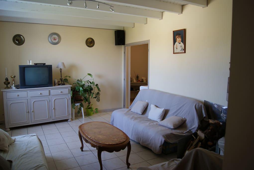 Grand salon avec une cheminée,très lumineux, chaleureux