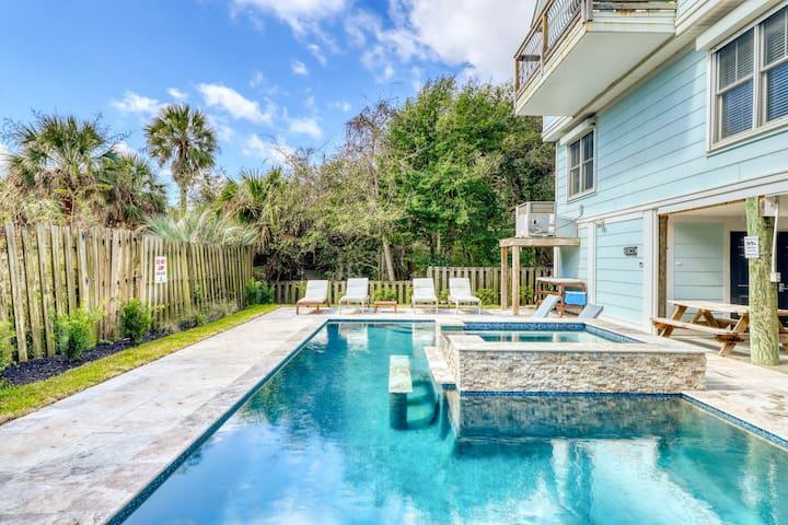 Ocean view home with a private pool & hot tub only steps from the beach!