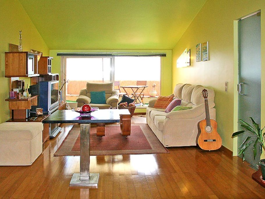Family room with French doors that brighten and warm the apartment