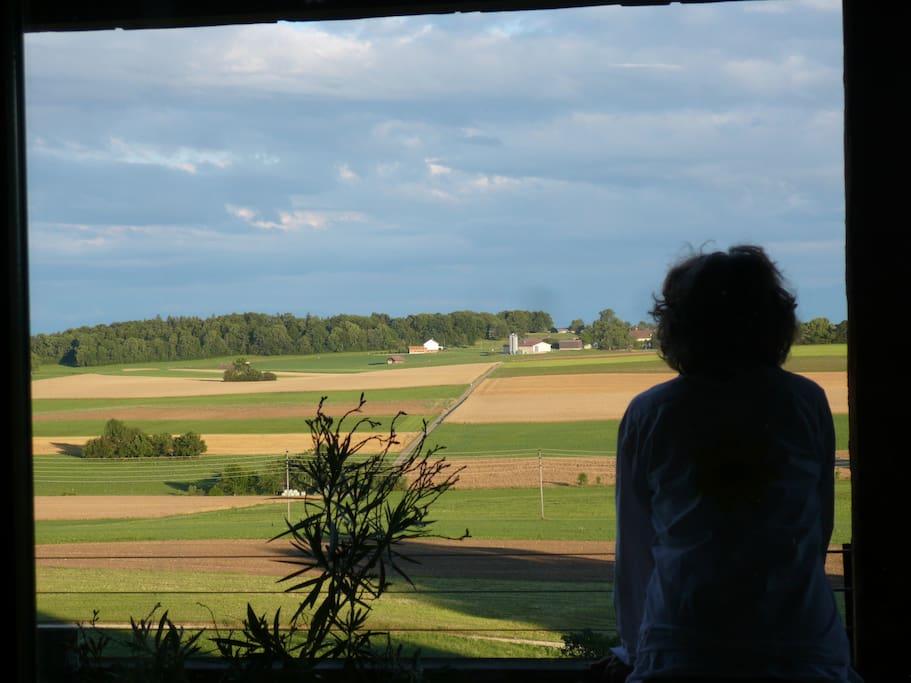 vue de la ferme vers le sud (et les Alpes).