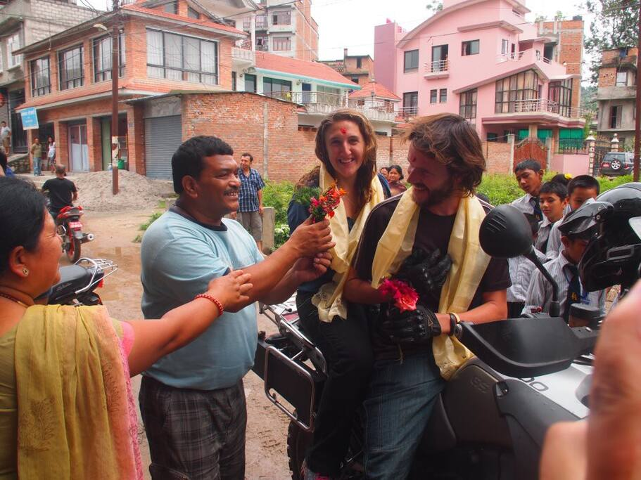 Celebration of holi festival with foreign guest in Banepa