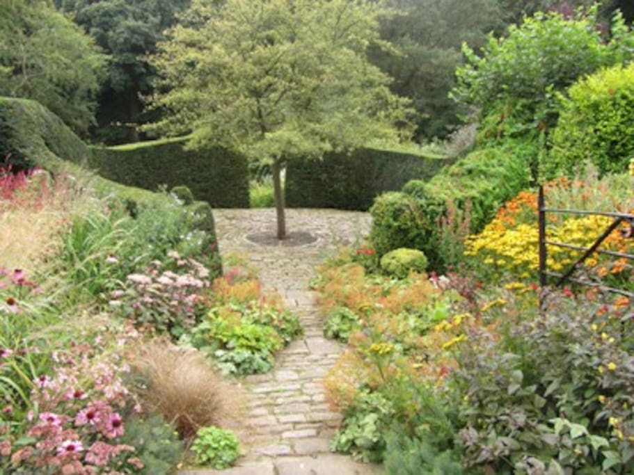 View from cottage of award winning shared garden