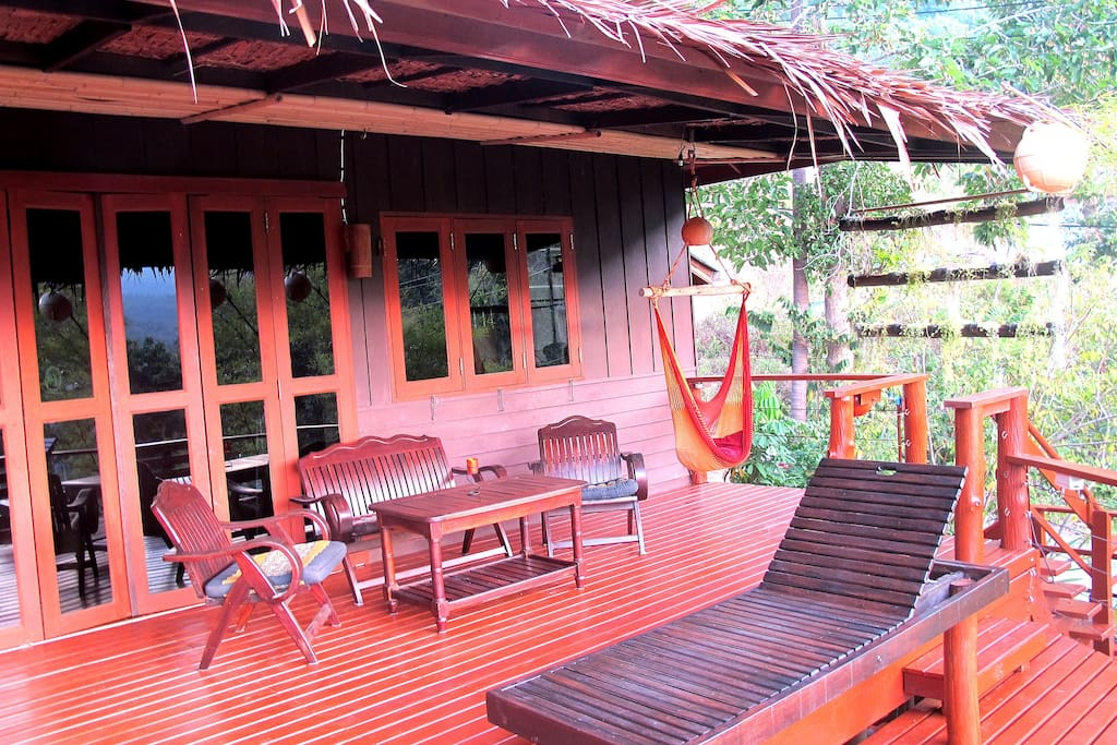 Large, covered upper balcony. You can enjoy the  outdoors, sunny and rainy days.