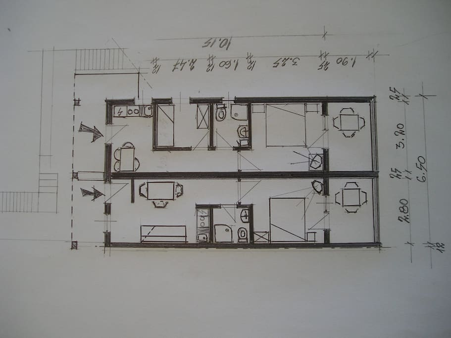 Blueprint of the apartment (upper entrance)