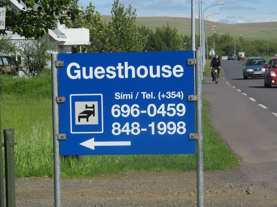 The street sign to the guesthouse.