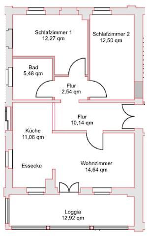 Der Grundriss der wunderschönen, geräumigen Wohnung