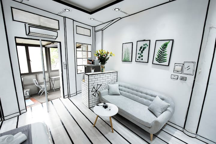 Comfortable sofa with large window