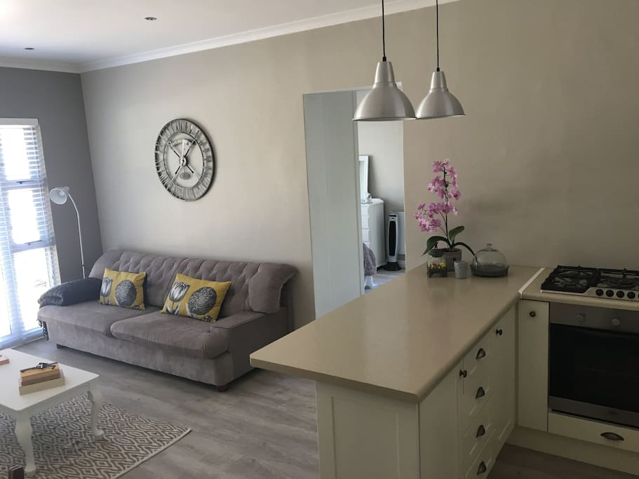 Open plan living room and self catering kitchen