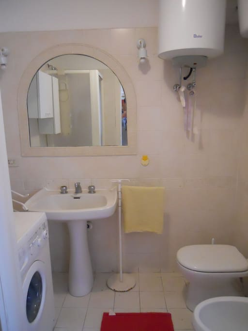 Small bathroom equipped with shower
