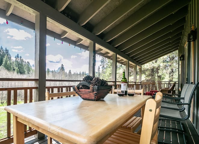 Clear Creek Cabin upper deck with seating
