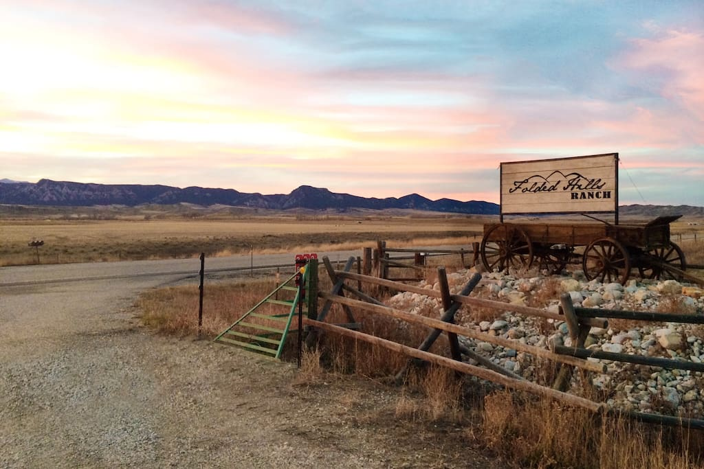 Folded Hills Ranch entrance sign.