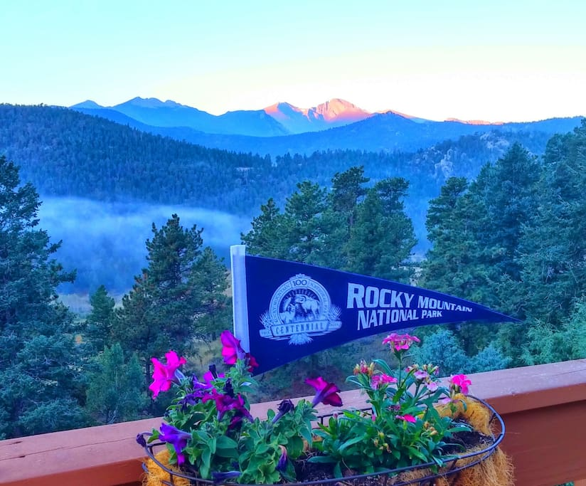 View of Longs Peak and Rocky Mountain National Park from the cabin deck!