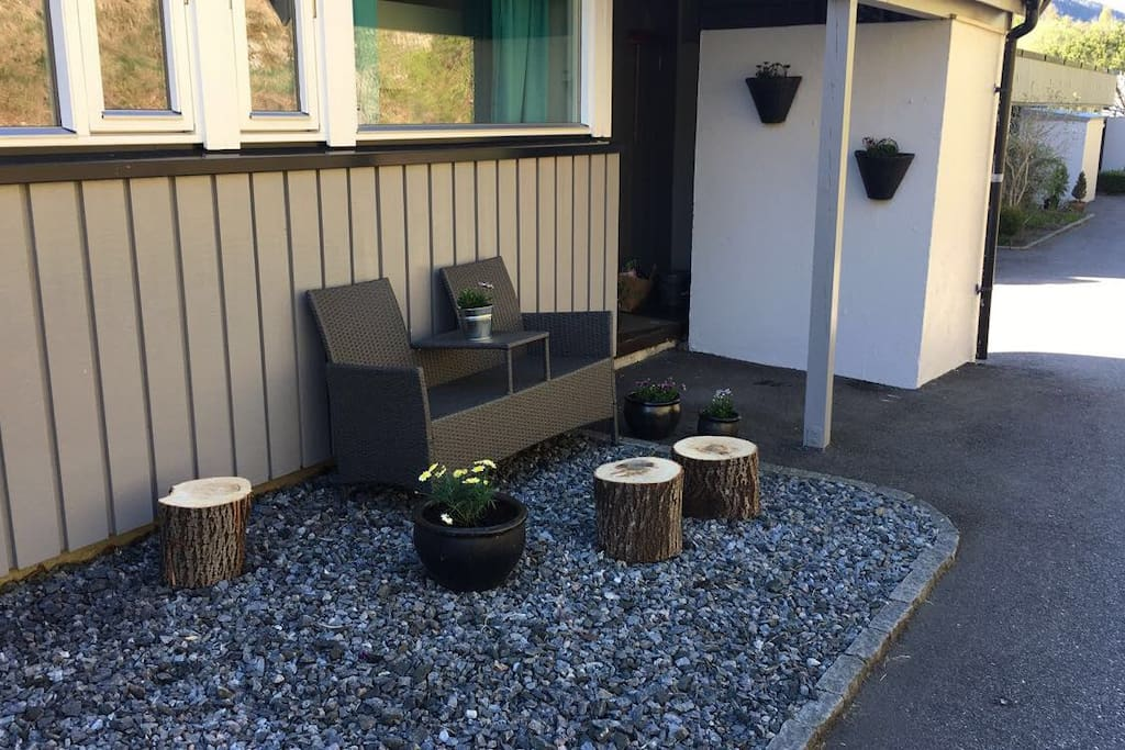 Patio in front of the house