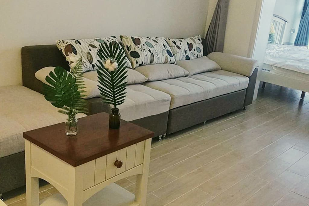宽敞舒适的客厅!沙发床可以展开的呦