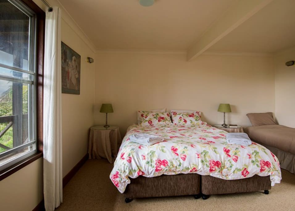 One of 2 bedrooms in Tranquility. Can be made up as 3 x single beds, or a double and 1 x single