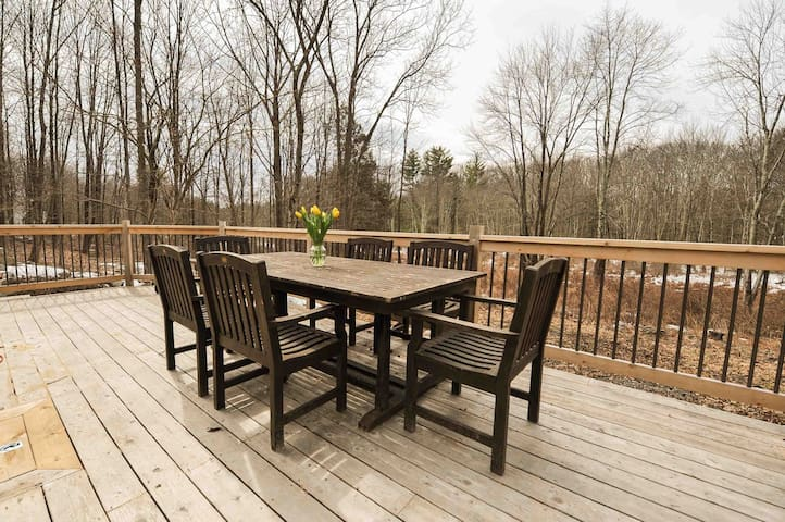 Spacious sunny deck. Early Spring.