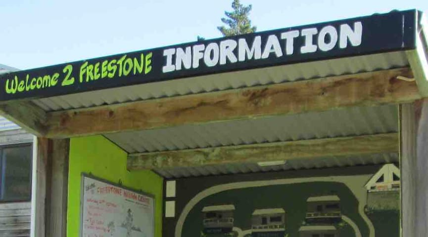 The information booth in the car park has a whiteboard with your check in details written