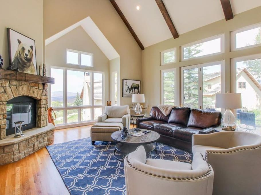 Family Room with 20 ft + ceiling