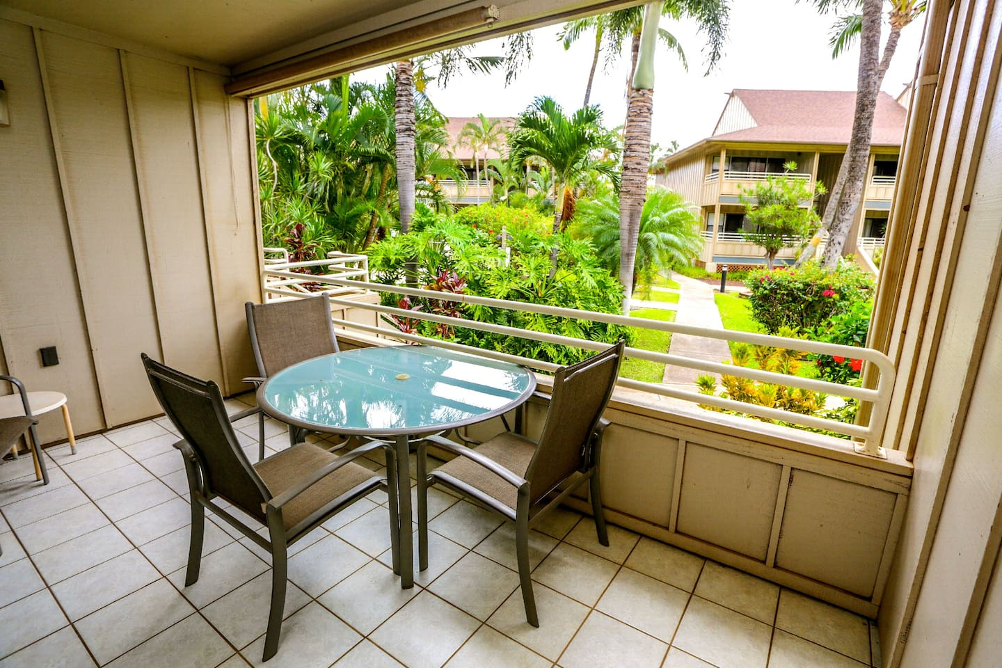 View from your private lanai looking out onto the beautiful tropical grounds.