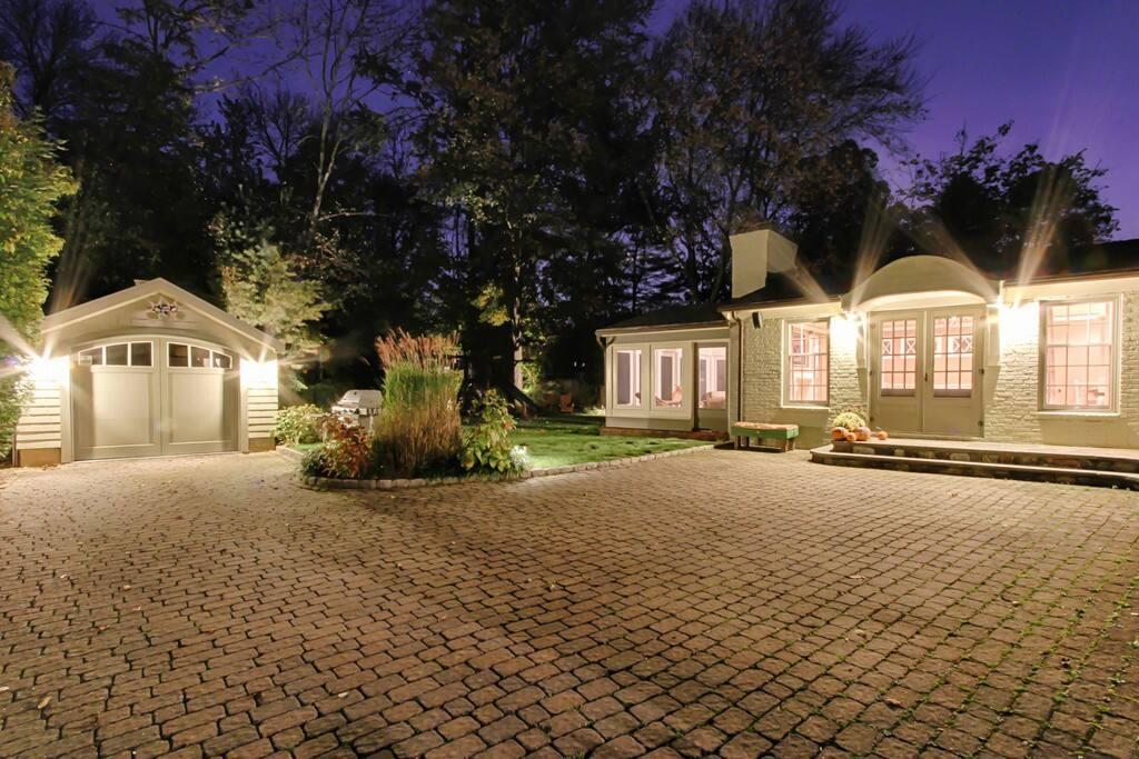 Beautiful backyard at night
