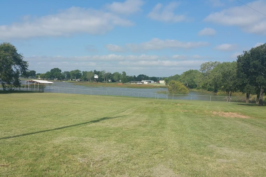 Lake backing up to the property