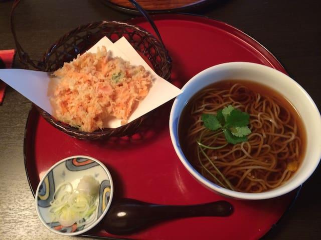 Sakkura Ebi, Soba with local shrimp tempra is recommended!