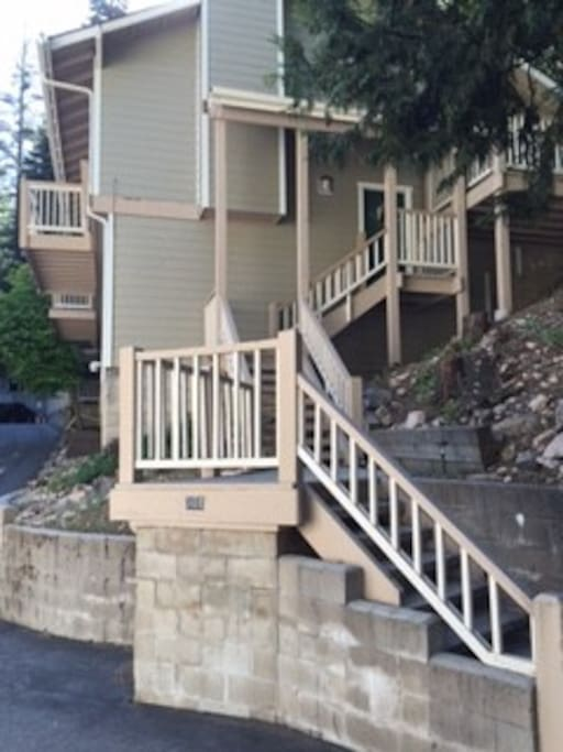 Entrance to Chalet has new siding