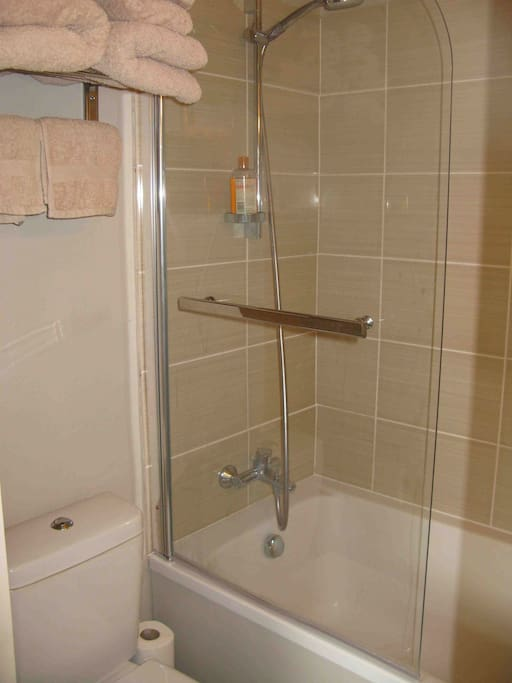 Bathroom with overhead shower. Towels provided.