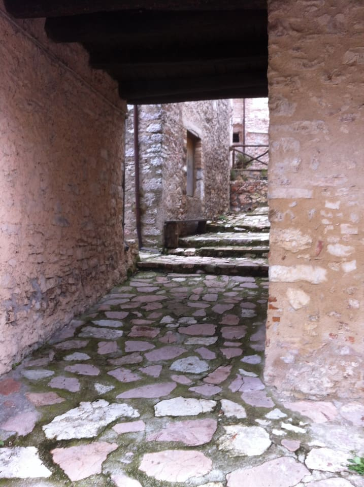 the small town has narrow medieval alleys