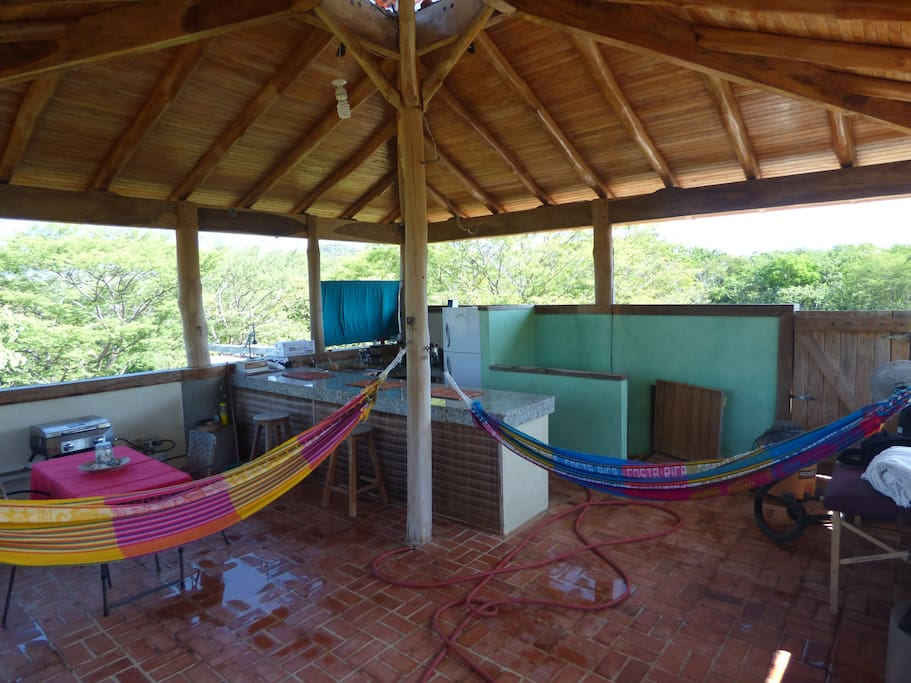 hang out on the hammocks  on the third floor, higher than the tree  canopy